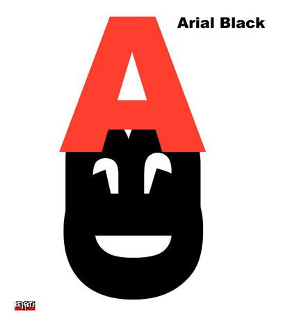 Arrangement der Arial Black Versalien A, B und C
