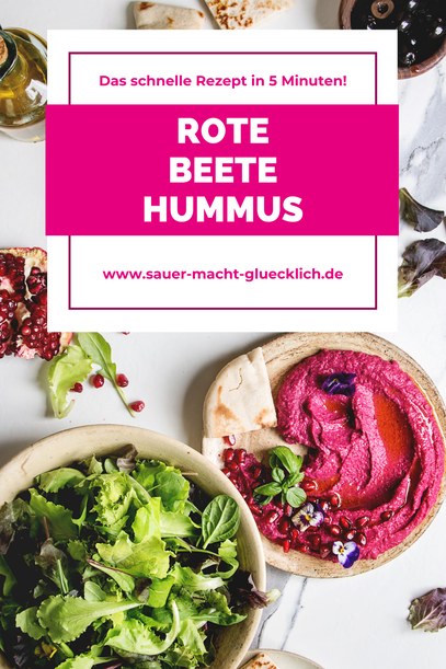 Rote Beete Hummus in 5 Minuten - Der perfekte Probiotik Dip für deine Party
