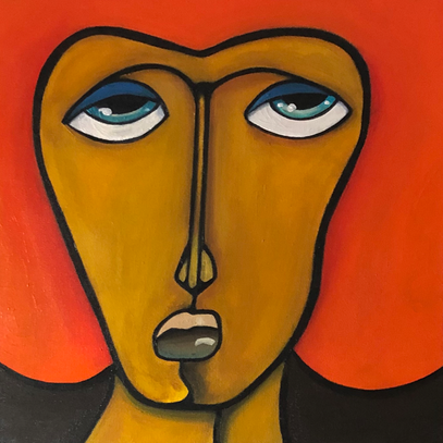 THE ORANGE ONE 40  x 40 Acryl