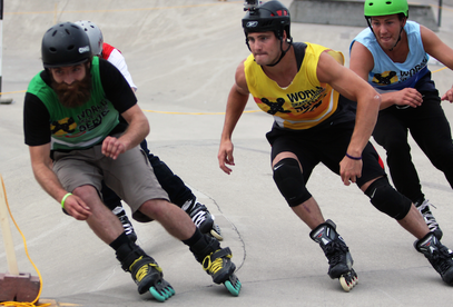 Shaun Unwin, in green and Brendan Dennis in yellow on their way to the final