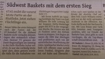 Bericht Westdeutsche Zeitung 14.09.15