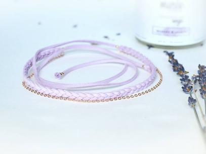 Bracelet/Choker tressé faux suède et or rose