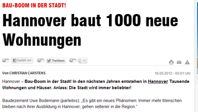 Hannover baut 1000 neue Wohnungen - Hann.Bild v. 18.6.2012 - klick mich...