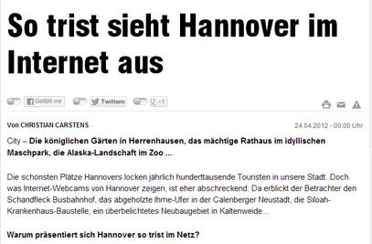 So trist sieht Hannover im Internet aus - Hann. Bild v. 24.4.2012 - klick mich...