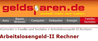 Arbeitslosengeld-II Rechner  - geldsparen.de - klick mich...