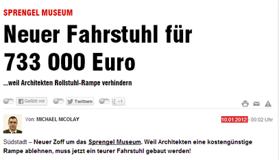 Sprengel Museum Neuer Fahrstuhl für 733000 Euro - Hann.Bild v. 10.01.2012