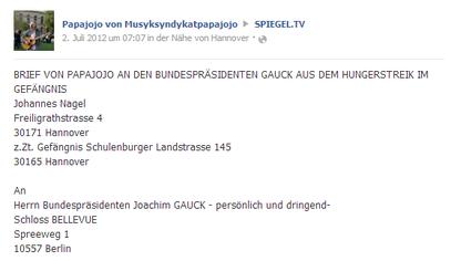 2.7.2012 - Brief v. PAPAJOJO an  BUNDESPRÄSIDENTEN GAUCK aus dem HUNGERSTREIK im GEFÄNGNIS - klick mich...