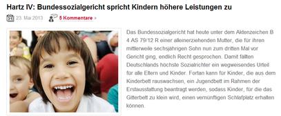 25.5.13 Hartz IV Bundessozialgericht spricht Kindern höhere Leistungen zu - klick mich...