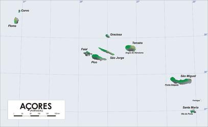 Carte des Açores, Archipel composé de 9 îles principales, appartenant au Portugal à 1500km des côtes.