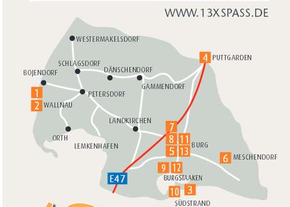 Standorte der Freizeittipps 13xSpass auf Fehmarn
