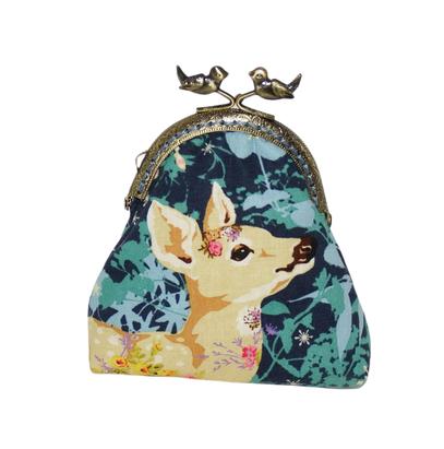 Porte-monnaie rétro femme bourse vintage tissu bleu  biche, chouette fleurs fermoir métallique bronze oiseaux animaux de la forêt