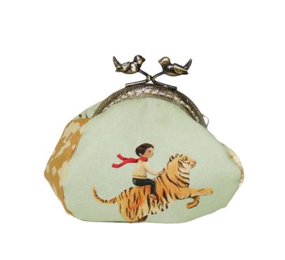 Porte-monnaie rétro femme bourse vintage tissu orange saumon pêche fermoir métallique bronze renard lapin lièvre  animaux de la forêt