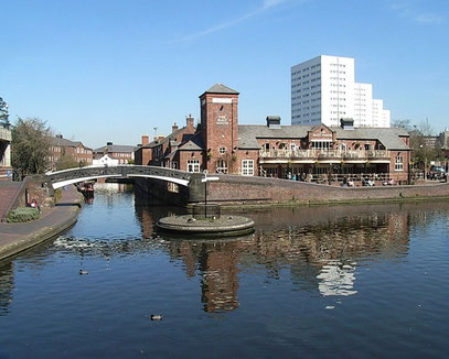 Old Turn Junction. The Birmingham & Fazeley Canal is straight ahead; the Birmingham canal heads towards Gas Street Basin to the right.