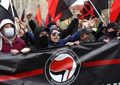 Libertær antifa-demo i Moskva