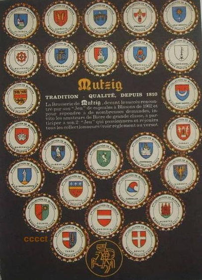 Advertising for french Mutzig beer set, 26 caps, dated 1963.