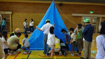 非常用三角テントつくり