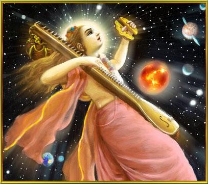 Narada Muni ::: kosmischer Raumfahrer....schwebt auf den Klängen aus seiner Vina..die die Veden aussenden