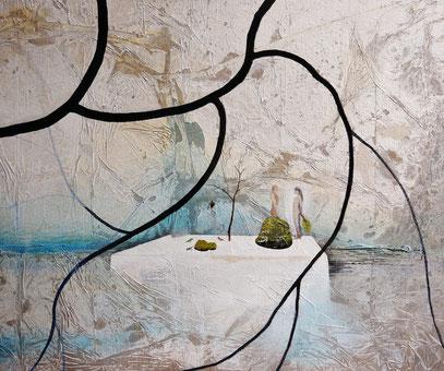-羽曳野白景- Whitescape of Habikino  Japanese pigments and Gum 1200x910mm 2013