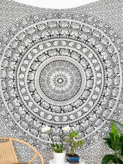 Indisches Wandtuch mit Elefanten Mandala in weiss schwarz