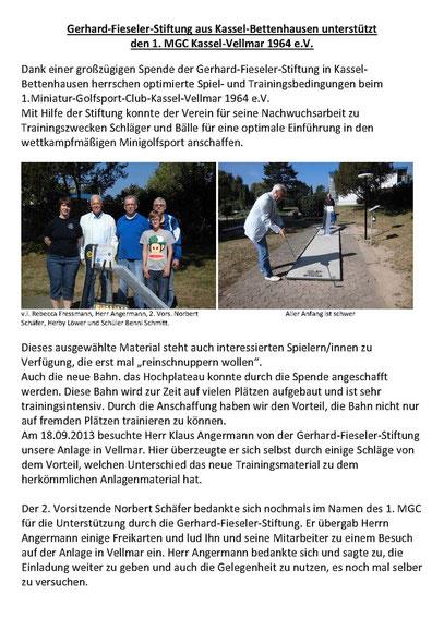 Dank an die Gerhard-Fieseler-Stiftung