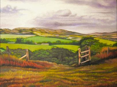 """""""Colline sopra Kimmeridge e Steeple, England"""" olio su tela - 40x30 - 2014"""