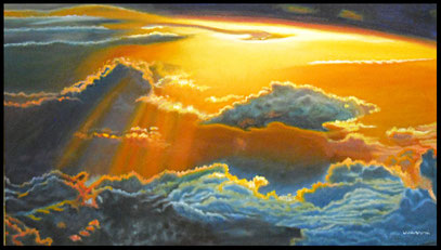 """NUVOLE AL TRAMONTO"" - ""CLOUDS AT SUNSET""   dim: 50x70   OLIO SU TELA PROFESSIONALE  - 2016"