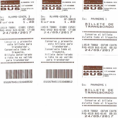 Unsere ÖPNV Tickets samt Umsteigeticket zur Alhambra