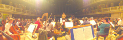 Orchestra rehearsing