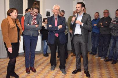 De gauche à droite : Michèle Fuselier, conseillère départementale, canton de Château-Thierry, Anne Maricot, conseillère départementale, canton d'Essôme-sur-Marne, Claude Jacquin, et Sébastien Eugène, maire de Château-Thierry.