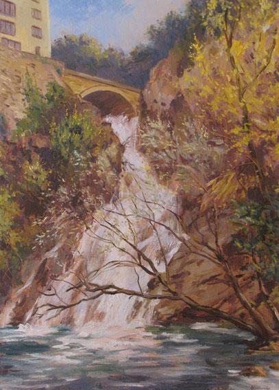 Tony Wahlander (Wåhlander) En Novembre 2011 il y eu de fortes pluies à Barjols et la cascade du Fauveri a emportée avec elle tous les buissons l'entourant ce qui donna la possibilité à Tony d'en faire un tableau.