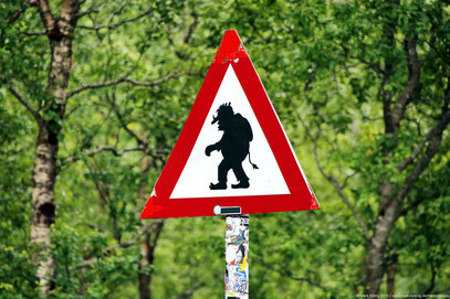 Real warning sign showing a troll