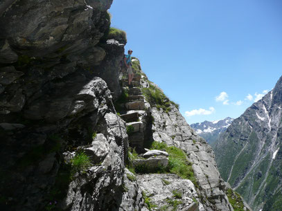 Ausgesetzte Stelle am Pfelderer Höhenweg