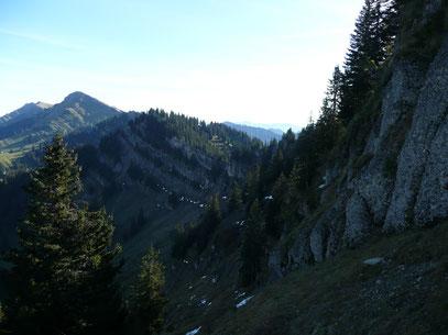 Einblick in die Nordseite der Nagelfluhkette mit Hochgrat / Seelekopf und Hohenfluhalpkopf
