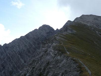 Ruitelspitze:Mittelgipfel (links) Hauptgipfel (rechts)