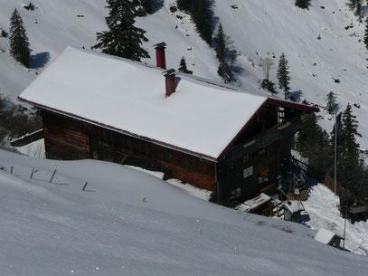Das Staufnerhaus beim Aufstieg zum Hochgrat