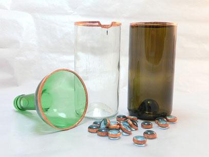 vasen teelichthalter aus flaschen in tiffanytechnik. Black Bedroom Furniture Sets. Home Design Ideas