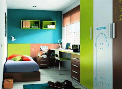 dormitorio infantil juvenil compuesto de cama, velador, escritorio con cajonera, closet y repisas cubo colgante