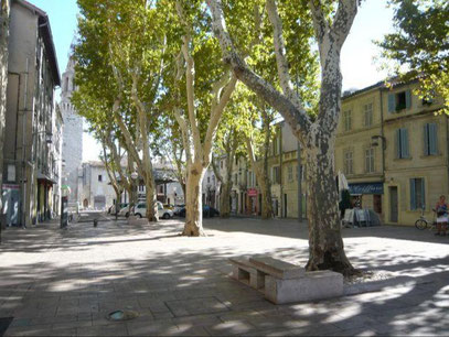 Place des Carmes dans un quartier tranquille d'Avignon