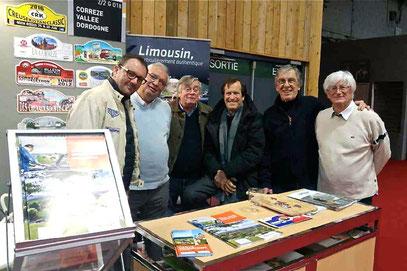Jean-Paul Brunerie,Andre Genin,Eric Marchin,Hubert Auriol, Jean-Paul RenvoizéetJean Pierre Naveaulors du Salon Rétromobile 2017.