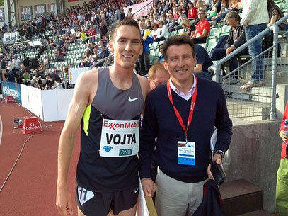 Andreas Vojta mit dem neuen IAAF-Präsidenten Sebastian Coe (Foto: Olaf Brockmann)