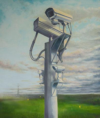 Playing football ~~ 2010 - huile et stickers sur toile - 165x140cm serie Les caméras de surveillance Security cameras