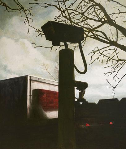 Ne parle pas aux étrangers  2010 - huile et stickers sur toile - 165x140cm série les caméras de surveillance
