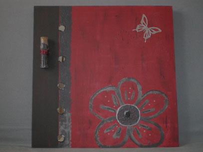 """home déco 3D 50X50 cm """"la fleur aux miroirs"""" rouge sombre et noir : hd. nr .001 38 €"""