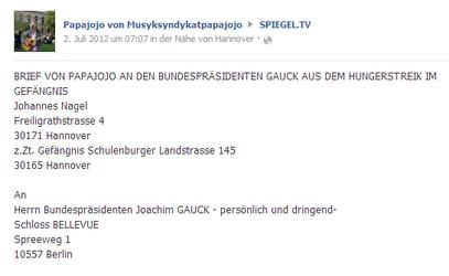 Brief v. PapaJojo aus JVA Hannover an Bundespräsident GAUCK / Spielgel TV vom 2.7.2012 - klick mich...