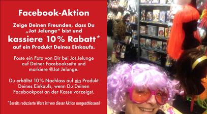 Jot Jelunge Rabattaktion, Selfie in der Perückenabteilung.