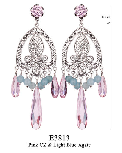 Gorgeous Elisabethan-inspired silver filigree earrings with pink Swarovski crystals and blue agates