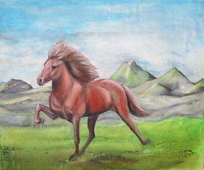 Islandpferd auf Island, Acryl auf Leinwand, 100 x 120 cm, 2016