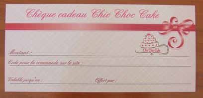 Chèque cadeau Chic Choc Cake boutique en ligne cake design et patisserie, idée cadeau Noël, idée cadeau fêtes de fin d'année, idée cadeau anniversaire