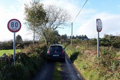アイルランドの田舎の道は狭く荒れていて、こんな道で80kmも出していいの?って思うのですが・・