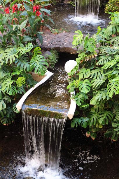 Innenhof mit Garten- und Wasserlandschaft